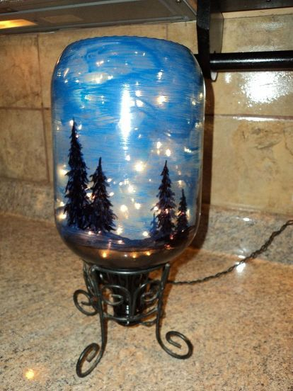 starry night light, christmas decorations, crafts, lighting, seasonal holiday decor, 6 Put the plug through the bottom of your bottle holder Then place the bottle in and check it out The more light in the room the brighter the bottle color