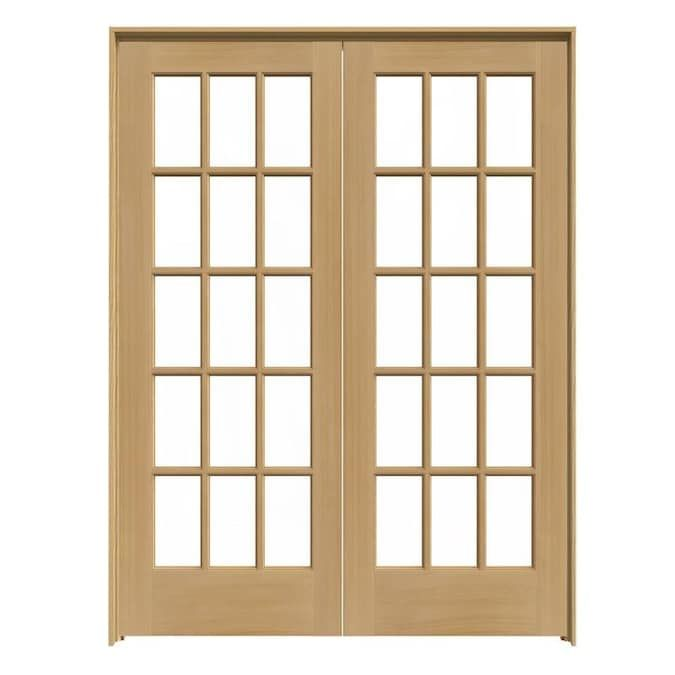 Jeld Wen 15 Lite Wood 60 In X 80 In Unfinished Clear Glass Wood Pine Interior French Door Hardware Included Lowes Com In 2020 Pine Interior Doors Glass French Doors French Doors Interior