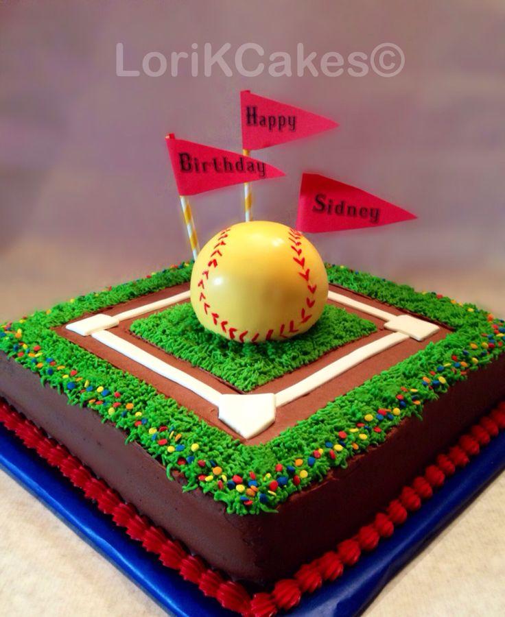 Softball birthday cake; girls softball cake; baseball diamond cake; buttercream grass cake