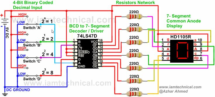 BCD to 7-Segment Display Driver 74LS47D Connected With HD1105R Common Anode Displaying Decimal '7' | IamTechnical.com