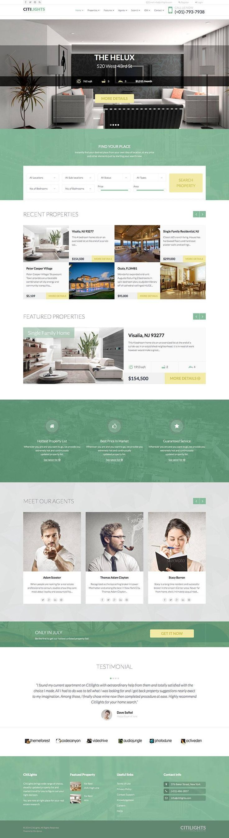 CitiLights is a modern real estate premium WordPress theme that's perfect for showcasing agents and their inventory of lovely homes and apartments. - WPExplorer