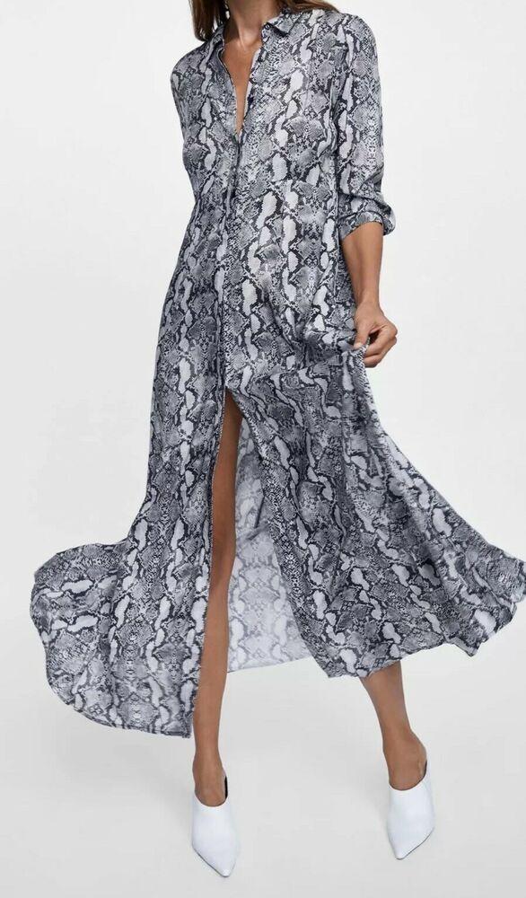Zara Woman New Long Snakeskin Print Shirt Dress Size L Fashion Clothing Shoes Acce Snake Print Maxi Dress Long Dresses Casual Maxi Print Maxi Dress Outfit