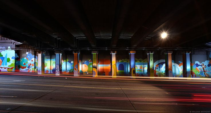 In Seattle, Todd Lowns design for this wall won a community vote organized by the 46th Street Mural Project; he then painted it with at-risk young people via the awesome ArtWorks organization.