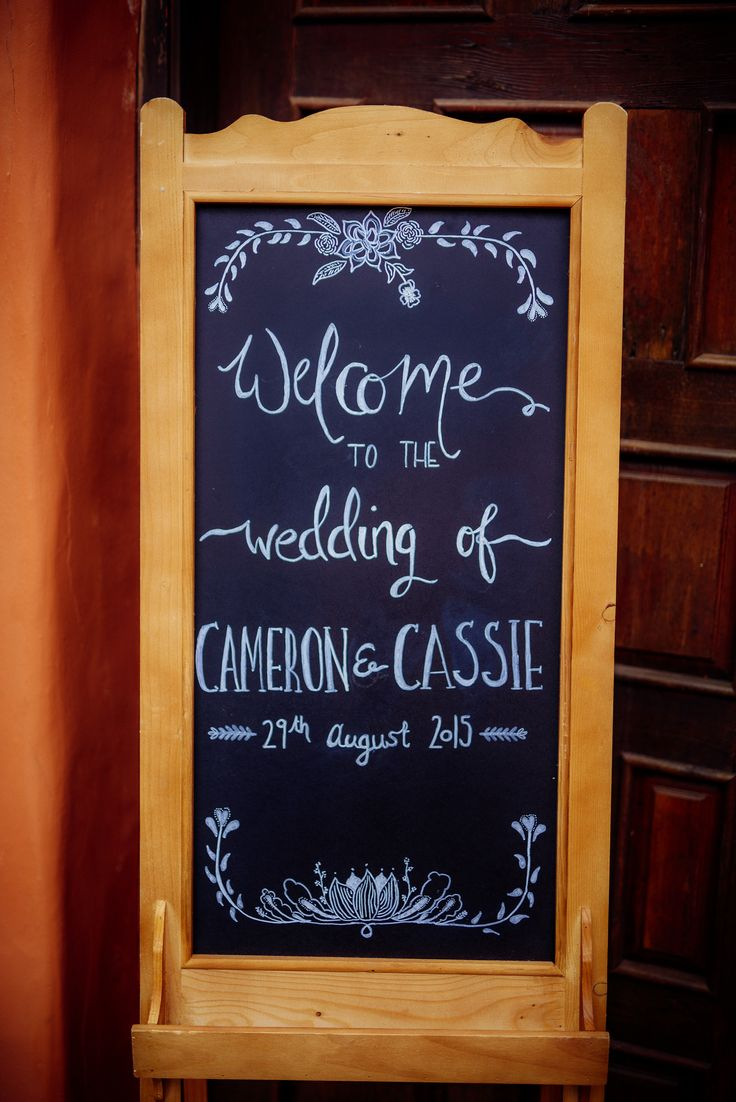 Chalkboard entrance sign. Wedding art.