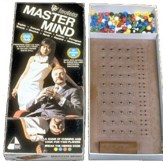 Mastermind... the exact version my parents got as a wedding gift and I played obsessively as a child. I think I thought it made me sophisticated. :P