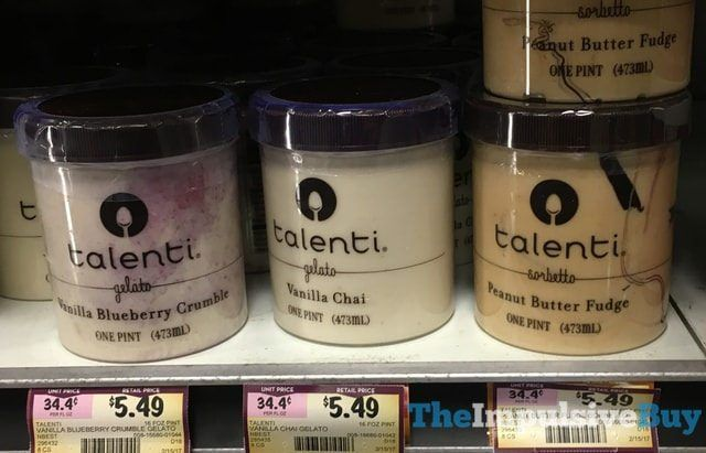 2017 Talenti Gelato and Sorbetto FlavorsPeanut Butter Fudge Sorbetto is Talenti flavor #45, Vanilla Blueberry Crumble is #46, and Vanilla Chai is #47