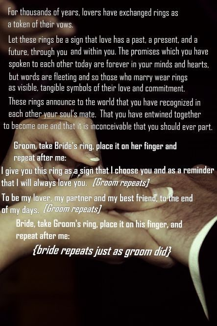 Funny Wedding Readings >> Since it's not going to be a religious ceremony, this is how the ring exchange will go. I don't ...