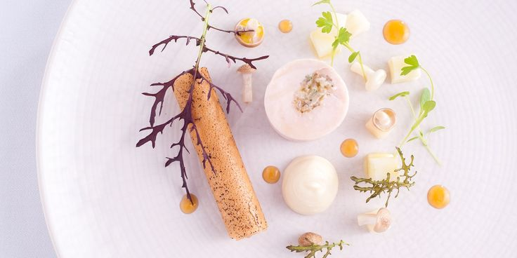 Lisa Allen's intricate guinea fowl recipe pairs guinea fowl breast with earthy mushrooms and a silky smooth parfait in a crispy feuille de brick shell.