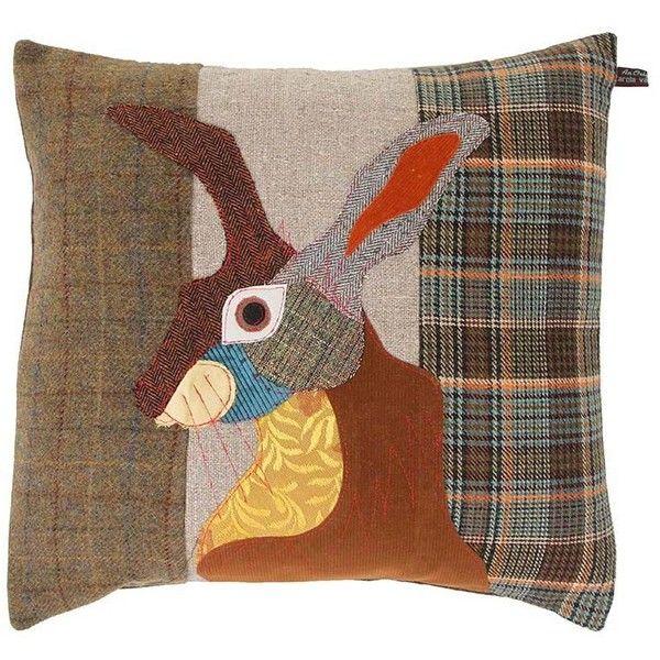 carola van dyke brown hare cushion 50x50cm 120 via polyvore featuring home home decor throw pillows multi rabbit throw pillow brown throw pillows