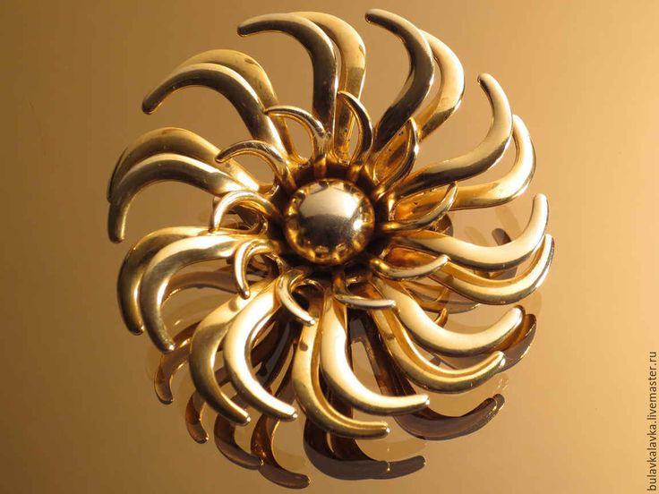 Купить Винтажная брошь The sun(солнце) - золотой, брошь, брошь-цветок, старинная брошь, украшение
