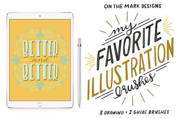 Fav Illustration Procreate Brushes by onthemarkdesigns on @creativemarket