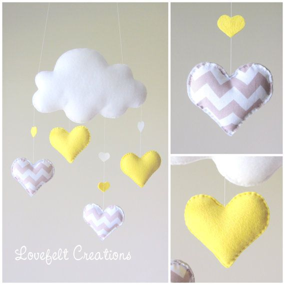 Baby mobile - Cloud mobile - chevron mobile - yellow and gray mobile