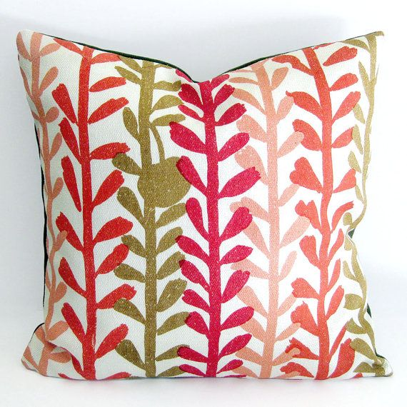 Modern Print Pillows : Mid Century Modern Pillow Cover - 1950s Fabric in Red and Olive Leaf Print / 20