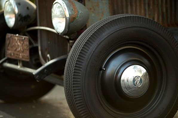 Disc wheels and sealed-beam headlights introduced in '40 made wires and bulb headlights almost instantly obsolete. Wheel spats like these Lyon-style pieces that Kevin Lee reproduces were an affordable means to update '35 wires. Rodders got the better sealed-beam headlights by hook or crook—high-tech stuff 77 years ago!