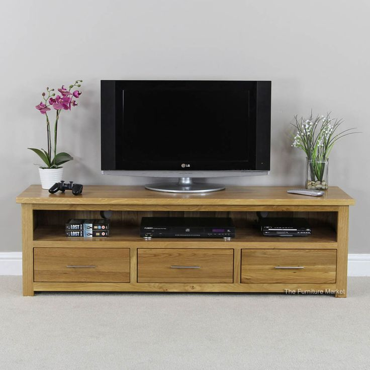 London Solid Oak Large Widescreen TV Unit - to fit TV's up to 70