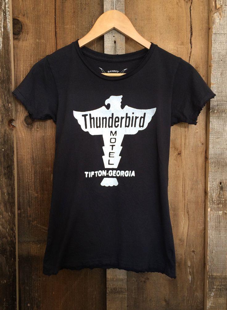 $36 Thunderbird Motel Womens Tee Blk/White