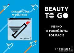 SEPHORA BEAUTY TO GO – PIĘKNO W PODRÓŻNYM FORMACIE !  Planujesz wakacyjny wyjazd? Teraz w Sephora znajdziesz mini produkty idealne na podróż. Dodatkowo przy zakupie produktów ze strefy BEAUTY TO GO za min. 99 zł otrzymasz praktyczną kosmetyczkę w prezencie.  *Oferta ważna w dniach 21.07.2015 - 17.08.2015 lub do wyczerpania zapasów. Oferta nie łączy się z innymi promocjami i rabatami, asortyment może różnić się między poszczególnymi perfumeriami. O szczegóły zapytaj w perfumerii.