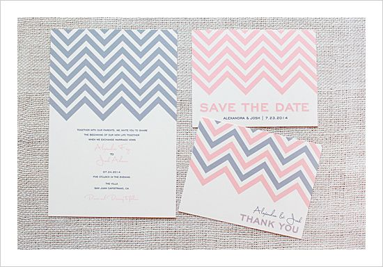 Chevron Stripe Customizable Wedding Invitation Set includes invitation, response card, save the date, menu, thank you card, and favor tag for your guests.- Free Printables by the Wedding Chicks. Love these creative ladies.