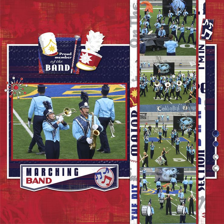 Layout marching band gosh i have many many marching band photos to scrapbook
