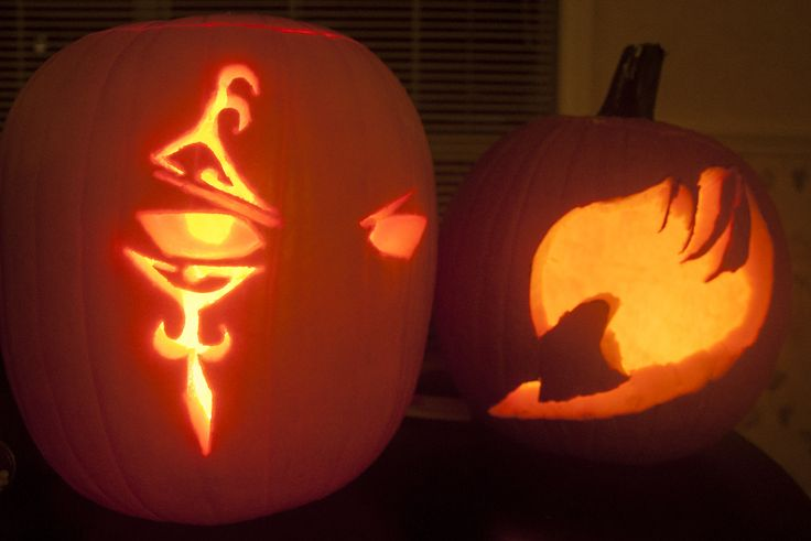 My sister and I carved Fairy Tail themes pumpkins! She made the Fairy Tail symbol one and I made the Jellal one.