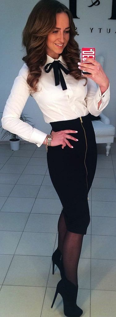 Dressed For Work In White Shirt With Black Bow And Pencil Skirt | by Carla Cro21