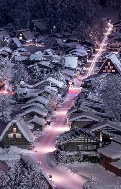 Night view of Shirakawa-gō, Gifu, Japan | by Wataru Yoshino