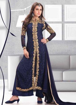 Amazing Royal Blue Brasso Embroidery Work Designer Pakistani Salwar Suit http://www.angelnx.com/Salwar-Kameez