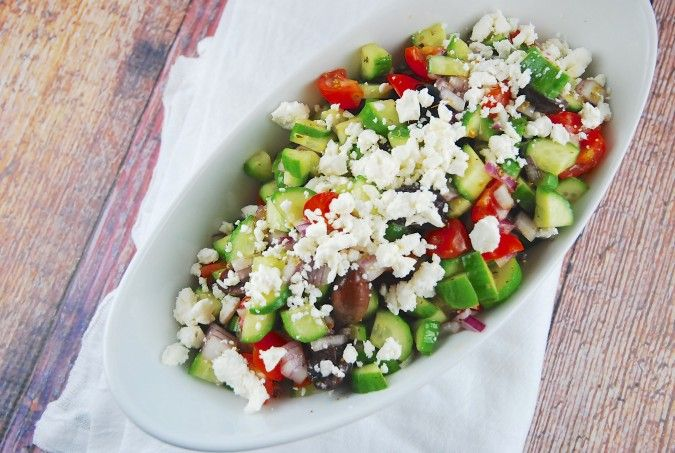 Greek Salad Recipe - 2 Points + - LaaLoosh Entire recipe makes 4 servings Serving size is about 1 cup Each serving = 2 Points +