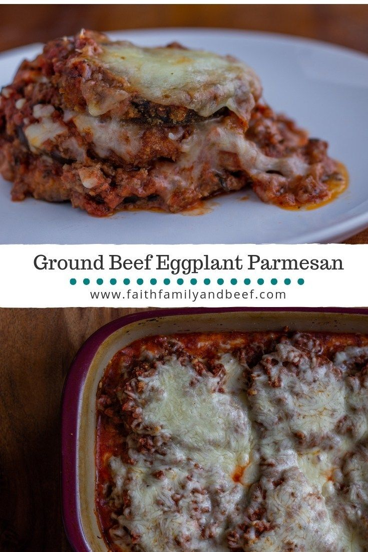 Ground Beef Eggplant Parmesan With Images Eggplant Parmesan Ground Beef Beef