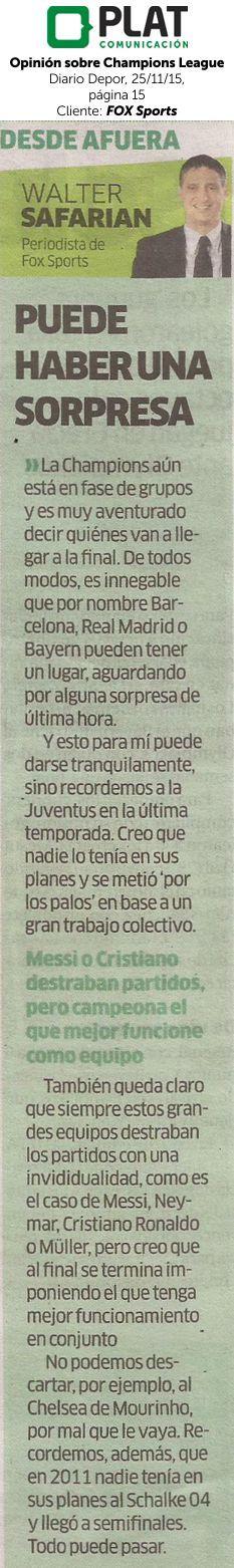 FOX Sports: Opinión de Walter Safarián sobre la final de la UEFA Champions League en el diario Depor de Perú (25/11/15)