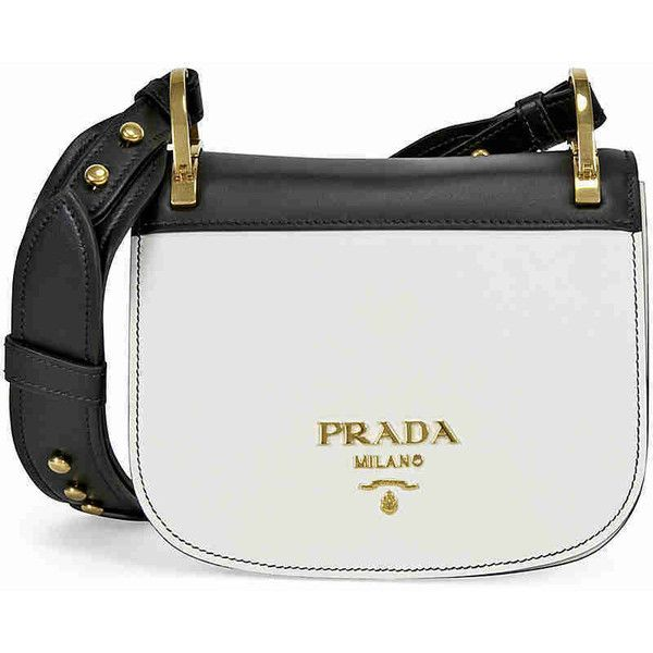 Prada Pionniere Leather Shoulder Bag - Black and White (11,510 GTQ) ❤ liked on Polyvore featuring bags, handbags, shoulder bags, genuine leather handbags, prada purses, leather purses, leather handbags and black and white purse