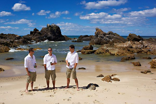 For a super casual beach wedding or elopement, comfort is key. The groomsmen won't mind this attire choice, and neither will the groom. If you are planning on wearing a simple sundress down the aisle, this summer outfit will coordinate well.