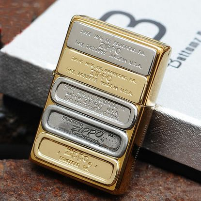 Japanese Plated Golden Bottom UP Stamps Zippo Lighter Limited Edition