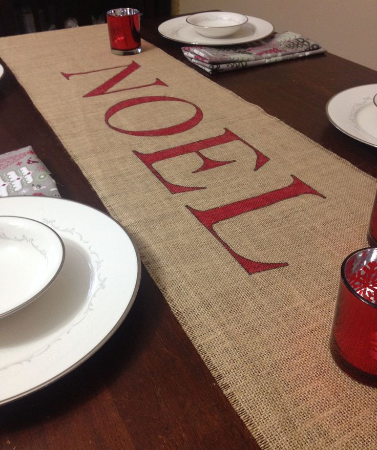 Burlap Noel Christmas Table Runner