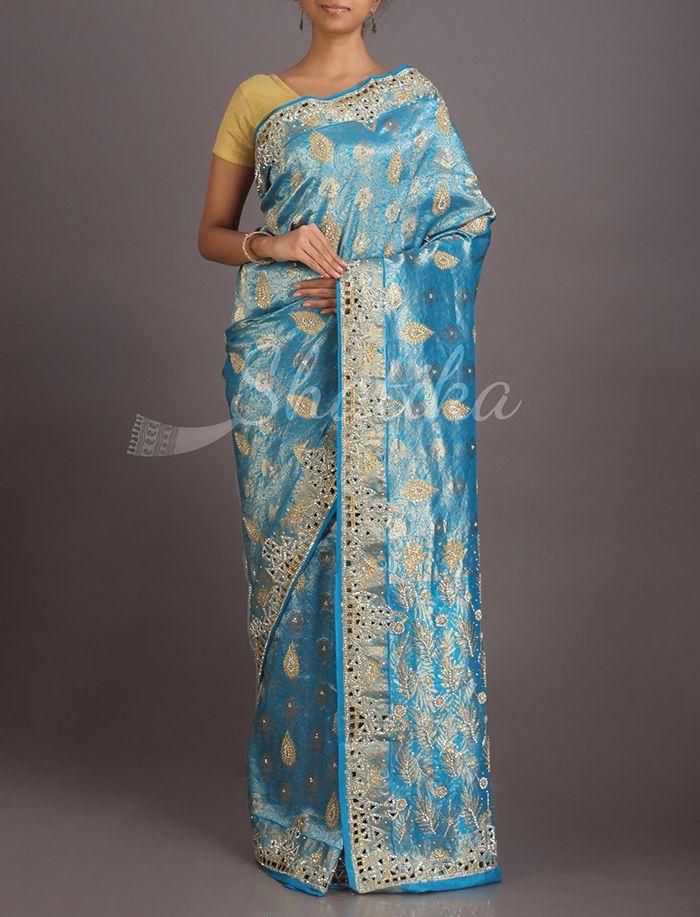 Mahati Sky Blue Heavy Ornate Border Pallu Kanchipuram Hand-Work Silk Saree