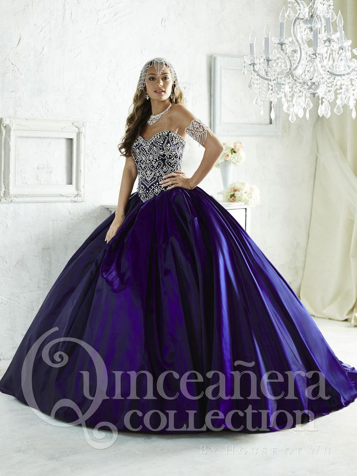 House of Wu 26823 Beaded Satin Quinceanera Ball Gown - French Novelty