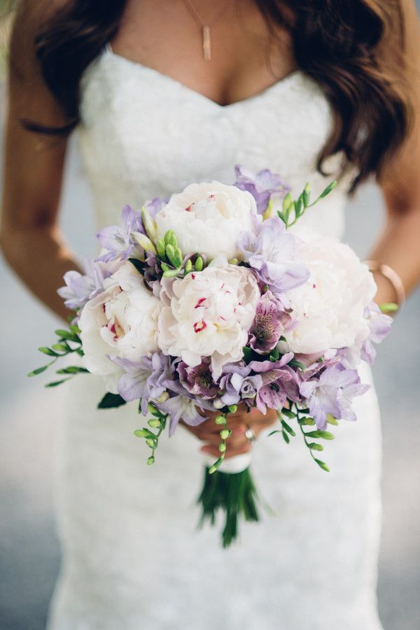 Lush wedding bouquet idea - white + purple bouquet with peonies, freesia and alstroemeria {Bryan Sargent Photography}