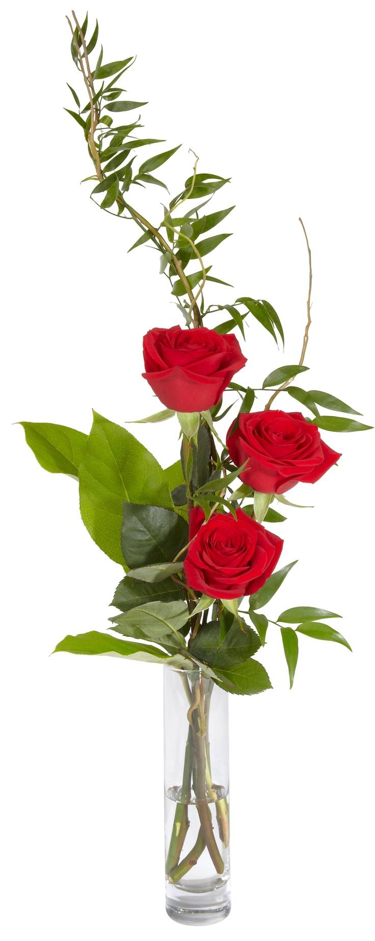 arreglo con base de cristal con rosas