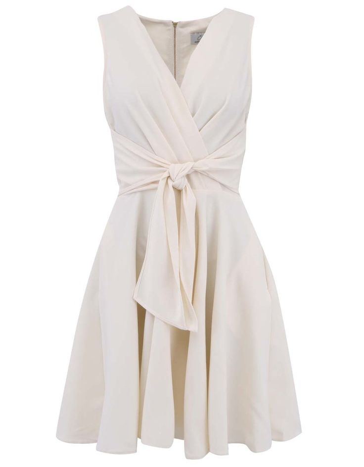 Closet - Krémové šaty se zavazováním v pase - 1