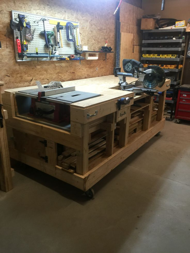 Saw table work bench created storage cabinet on side for for Garage workshop plans