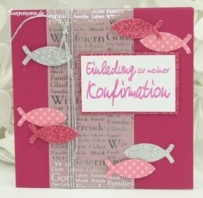 Idee – Einladungskarte zur Konfirmation / Kommunion pink-silber – Michaela Grabenmeier