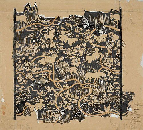 Sketch, Safari, twallpaper for Duro, 1968 by Sven Fristedt