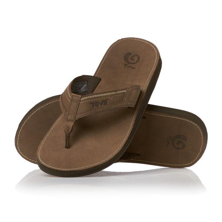 Men's Teva Flip Flops - Teva Benson M's Leather Flip Flops - Brown