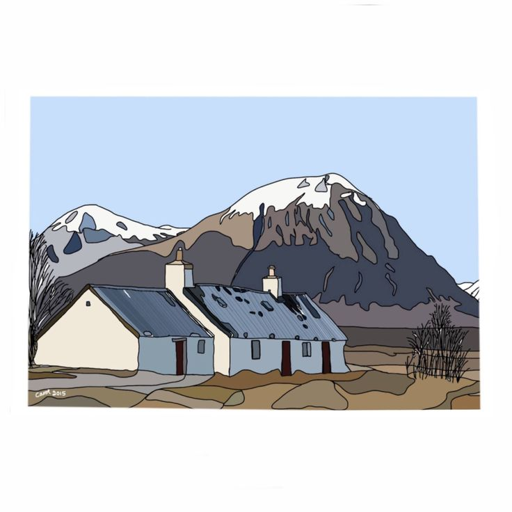 A personal favourite from my Etsy shop https://www.etsy.com/uk/listing/490610033/scottish-crofthouse-in-winter