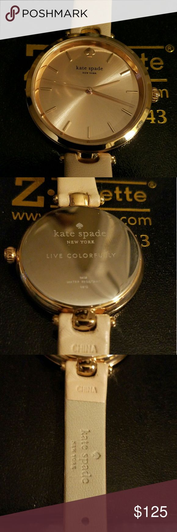 Kate Spade Genuine Leather Rose Gold Watch This watch is absolutely beautiful. It has a rose gold face with a light pink leather band. It has been worn a few times, but us still in perfect condition. kate spade Accessories