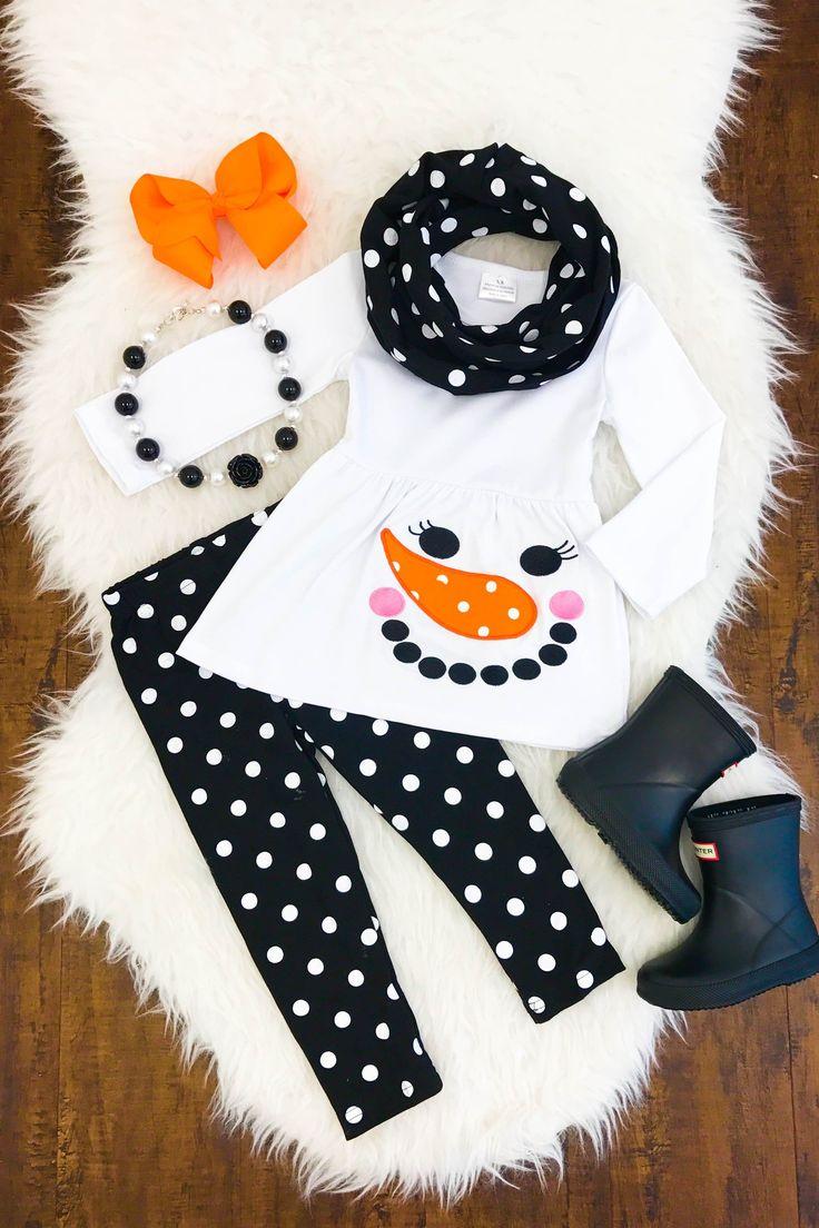 Black Polka Dot Snowman 3pc Scarf Set