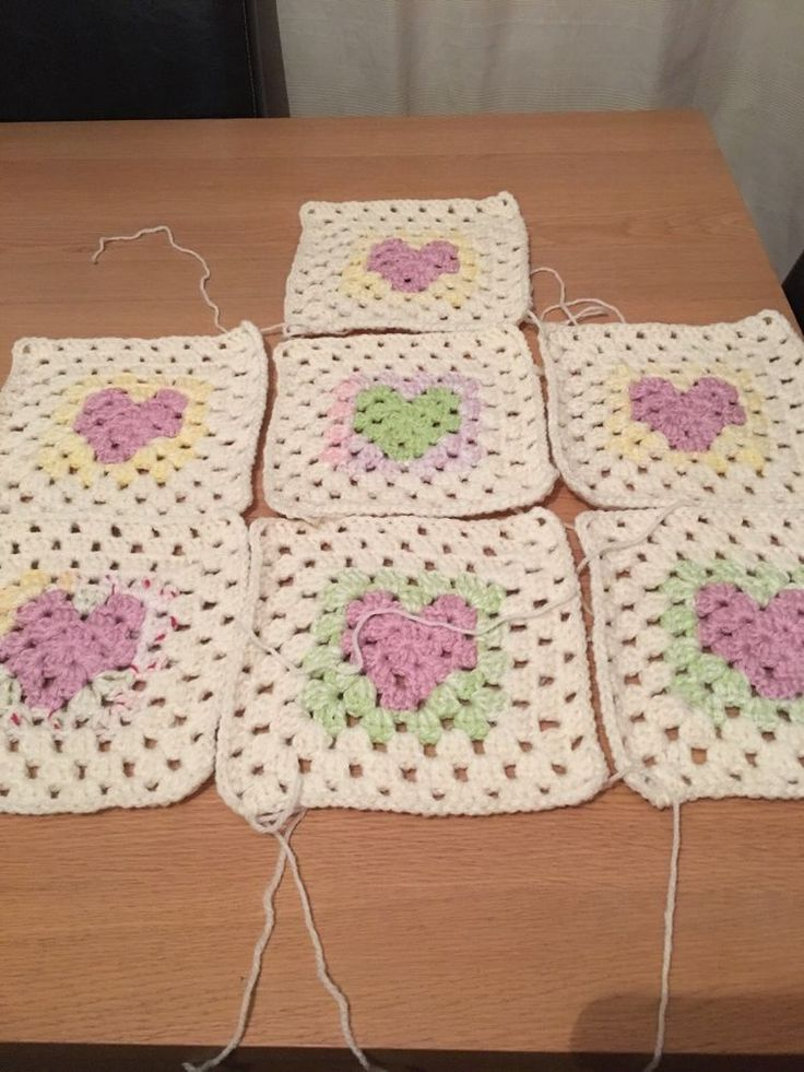 """Granny Squares,  Large Square With Heart Centre in Pastel Colours 8"""" x 8""""  