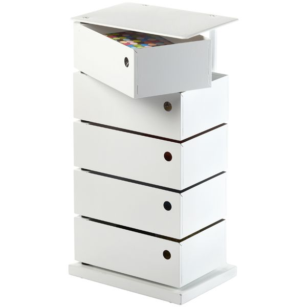 5-Bin Storage Tower White
