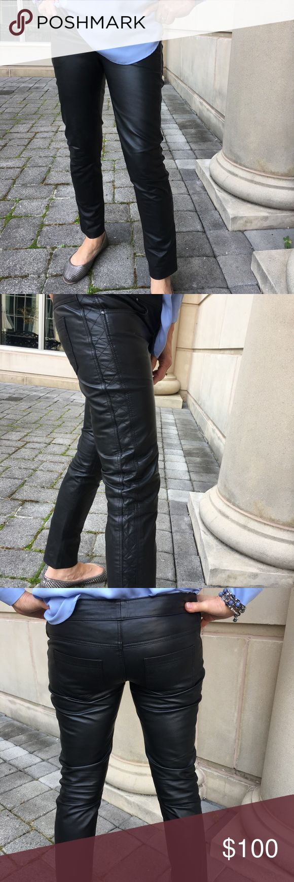 """Leather pants Beautiful black leather luxurious pants.  Bought in Paris last year.  Top-stitched with a quilted effect on the sides.  Straight leg.  Size is T1 which is close to 0-2 in US sizes.  Waistline (as shown) is approximately 32"""", and length from inseam is almost 27"""".  Two back pockets.  Fully lined.  Fantastic condition. Bel Air Pants Straight Leg"""