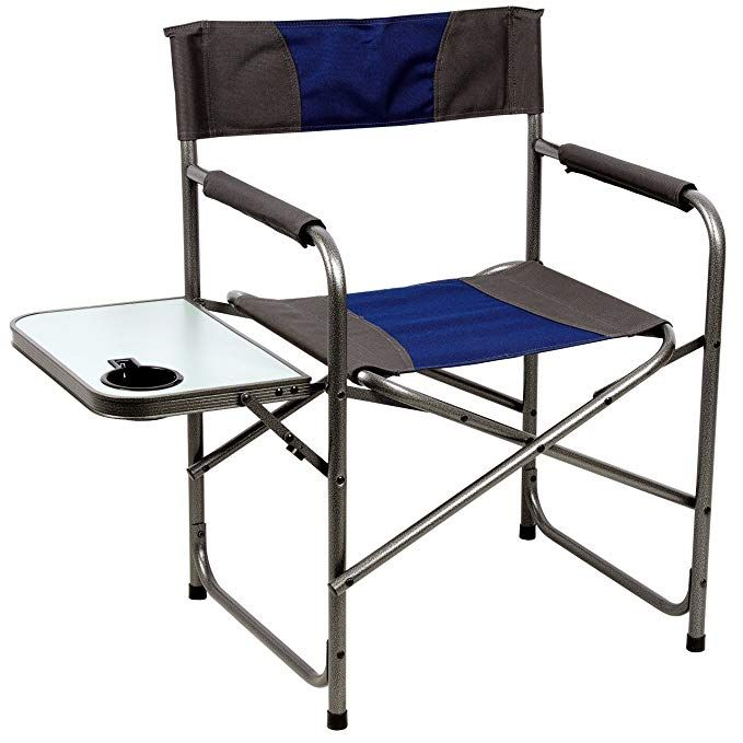 Portal Compact Steel Frame Folding Director S Chair Portable Camping Chair With Side Table Supports 300 L Portable Camping Chair Tailgate Chairs Camping Chair